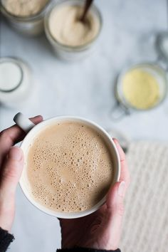 This delicious morning elixir is made with creamy hazelnut butter and adaptogens that support the body's response to stress. Drink Me, Chai, Coconut Oil Weight Loss, Hazelnut Butter, Hazelnut Latte Recipe, Hazelnut Recipes, Homemade Almond Milk, Brunch, Tuna Recipes