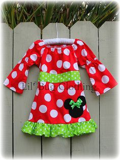 Custom Minnie Mouse Christmas Lime and Red by LilBugsClothing
