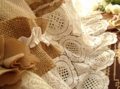80x72  SHABBY Rustic Chic Burlap shower by BetterhomeLiving