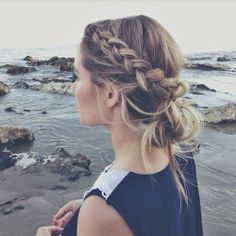 Gorgeous large side braids to messy bun. Long hairstyle updo