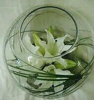Wedding Reception flowers 10 ivory white lily Fish Bowl Vases table Centrepieces