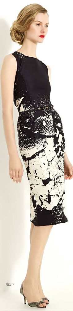Oscar de la Renta ● Black Abstract Sheath Dress