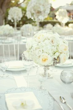 round centerpiece, mercury glass, white linen