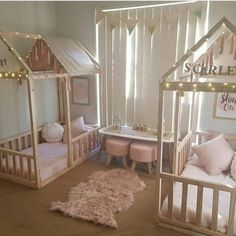 Kids/childrens shared girls bedroom wonderland twinkle light cubby bed canopies pink white and grey palette fluffy rug bunting flags // House beds for the girls! Twin Girl Bedrooms, Baby Bedroom, Little Girl Rooms, Twin Bedroom Ideas, Girl Toddler Bedroom, Kids Bedroom Ideas For Girls Toddler, Toddler House Bed, Bedroom Kids, Twin Room