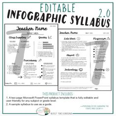 Infographic Syllabus [EDITABLE in PP] As a veteran teacher, one of my most requested forms is my class syllabus. This product provides you with a modern spin on the traditional class syllabus. Since it is an editable PowerPoint file you can tailor Real Teacher, Teacher Pay Teachers, Teacher Tips, Teacher Stuff, Middle School Teachers, Back To School, School Stuff, Class Syllabus, Biology Syllabus
