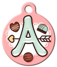 This design features the alphabet in a stylized candy-themed font with cute chocolate bon bons. Available in letters A-Z.