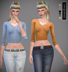 Jennisims: Downloads sims 4:Sets Shirt & Jeans Base Game compatible