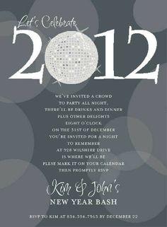 Disco 2012 Charcoal Invitation #newyearseve #holiday #party #invitation