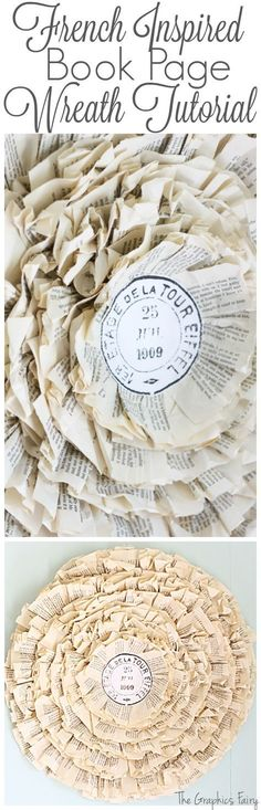 Paris Postmark Book Page Wreath - The Graphics Fairy. Fun tutorial for making this Shabby Chic style paper craft! Such a lovely DIY home decor idea!