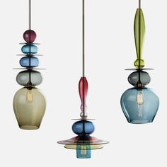 Unique Pendant Lighting | Unique and Colorful Pendant Light Made of Stacked Glass – Triptych ...