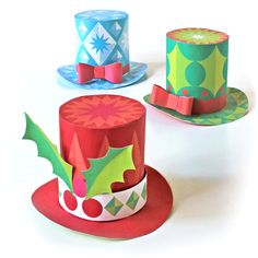 paper hats video tutorial Festive paper hats for the Holidays - 3 cute DIY mini paper tops hats - free templates and tutorial.Festive paper hats for the Holidays - 3 cute DIY mini paper tops hats - free templates and tutorial. Christmas Party Hats, Christmas Paper Crafts, Christmas Crafts, Christmas Decorations, Christmas Ornaments, Christmas Holidays, Christmas Sweaters, Christmas Ideas, Hat Crafts