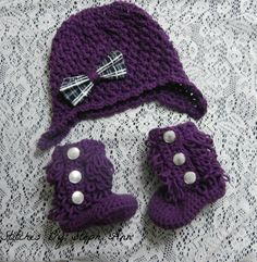purple and plaid hat and bootie set; stitchesbystephann; photo prop