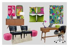 Bohemian Retro Office by jslampe on Polyvore featuring interior, interiors, interior design, home, home decor, interior decorating, Baxton Studio, Homelegance, Moroccan Prestige and Robert Abbey