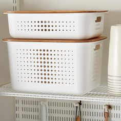 Container Store White Nordic Storage Baskets with Handles Bath Toy Storage, Pantry Storage, Cube Storage, Pantry Organization, Storage Ideas, Food Storage, Storage Solutions, Bedroom Storage, Closet Storage Bins