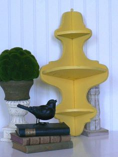 Vintage Upcycled French Country Sunny Yellow Corner Curio Shelf