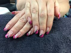Verna's nails.  Pink tips with white black and silver accents. Gel nail art.