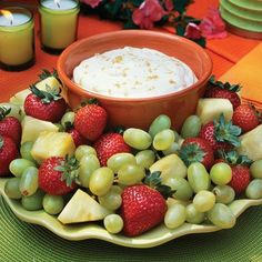 Brown Sugar Fruit Dip  Add a sweet desert dip to your appetizer buffet to balance all the salty and savory items. You can use whatever fresh fruits are in season as dippers.