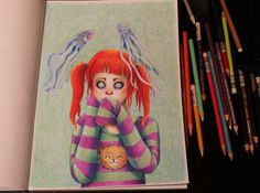 Color pencil speed drawing video, Girl with kitty sweater