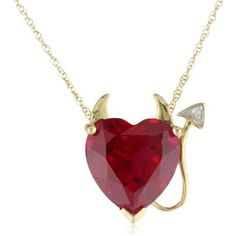 """XPY 14k Yellow Gold Created Ruby Heart Devil Pendant with Diamond Accent, 18""""   Amazon Curated Collection  $149.99"""
