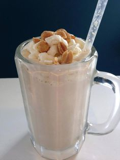 """THM """"AMISH PEANUT BUTTER SHAKE"""" It's an S: 1/2 C. Almond milk, 1/2 C. low fat cottage cheese, 2 heaping T. Natural peanut butter, 1 scoop protein powder, 3 pinches of Celtic sea salt, 1/2 t. Maple flavoring, 1 t. MCT oil (optional), 12 ice cubes, stevia to taste. In vitamix or other high powered blender, blend all ingredients except ice and adjust sweetener. Add ice and blend. This makes a large amount and can be used as a meal or 1/2 serving used as an S snack. Enjoy!"""