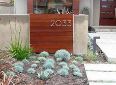 Debora Carl Landscape Design - modern house numbers on horizontal slats - contemporary landscape Modern Landscape Design, Modern Landscaping, Contemporary Landscape, Contemporary Decor, Backyard Landscaping, Landscaping Ideas, Modern Design, Landscape Elements, Home Design