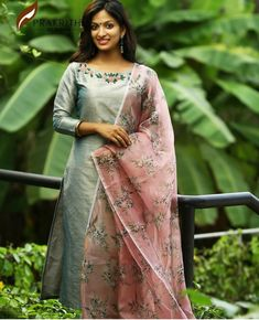 Image may contain: 1 person, standing and outdoor Salwar Kameez Neck Designs, Silk Kurti Designs, Kurta Designs Women, Kurti Designs Party Wear, New Designer Dresses, Indian Designer Outfits, Indian Outfits, Stylish Dress Designs, Dress Neck Designs