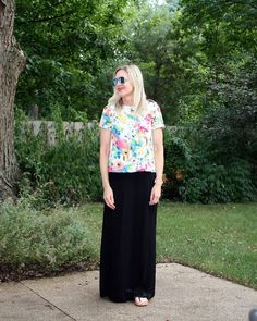 sabine-black-pleated-maxi-skirt with everly-floral-top