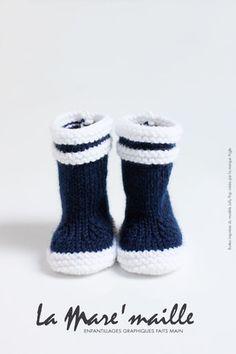 Bottes marin bébé en laine bleue hommage aux bottes Lolly Pop - Aigle : Mode Bébé par la-mare-maille