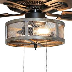 Abbigail Woodgrain Caged Farmhouse 5 Blade Ceiling Fan with Remote, Light Kit Included Caged Ceiling Fan, Bronze Ceiling Fan, Kitchen Fan, Kitchen Ideas, Kitchen Design, Ceiling Fan With Remote, Unique Ceiling Fans, Rustic Ceiling Fans, Decorative Ceiling Fans