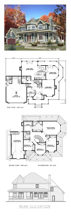 Victorian Style COOL House Plan ID: chp-26968   Total Living Area: 2846 sq. ft., 4 bedrooms and 2.5 bathrooms. #victorianhome