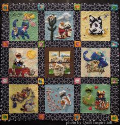 Inquisitive Fat Cats by Ann Scrivener.  Design by Janet King (Kime?).  2014 Tucson Quilters' Guild show, photo by Quilt Inspiration