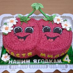 Pair of cherries. Ideal for twin girls. Pair of cherries. Ideal for twin girls. Easy Cake Decorating, Birthday Cake Decorating, Cake Decorating Tutorials, Bright Birthday Cakes, Baby Birthday Cakes, Dessert Party, Buttercream Icing Cake, Birtday Cake, Birthday Cake With Photo