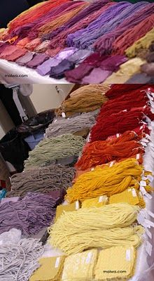 Naturally dyed hand spun wool samples at Maiwa workshop. Natural Dye Fabric, Natural Dyeing, Fabric Yarn, How To Dye Fabric, Fibre And Fabric, Spinning Yarn, Hand Dyed Yarn, Yarn Needle, Fabric Painting