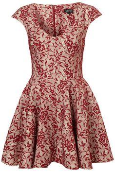 Bonded Red Lace Skater Dress