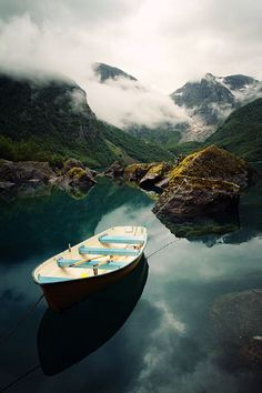 Foglefonna National Park, Norway via flickr #lake #mountains #canoe