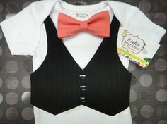Baby Boy Suit with Coral Bow Tie, Infant Bow Ties, Suit for Baby Boy, Bow Tie Onesie with Black Vest on Etsy, $25.00