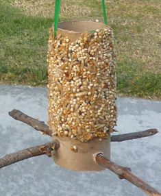 Let's Go Chipper Teacher Workbook Lesson Plan: Bird Feeder made from recycled toilet paper roll, DYI, Fun craft for kids, bring nature into the classroom.