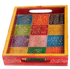 This wooden serving tray is a perfect solution when it comes to small tea parties and gatherings. Custom Woodworking, Woodworking Projects Plans, Painted Trays, Hand Painted, Painted Wooden Boxes, Thali Decoration Ideas, Wooden Serving Trays, Small Tea, Indian Crafts