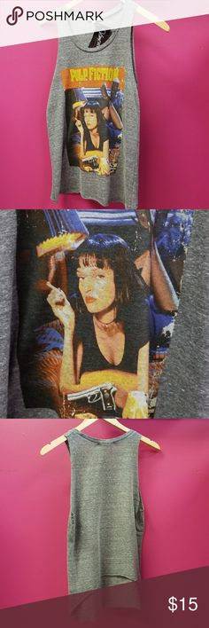 Pulp Fiction Tank Junk Food tank eith raw cut sleeves and a distressed neck. Higher cut in the back Junk Food Clothing Tops Tank Tops