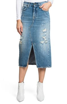 88604187a3 Free shipping and returns on PRPS Split Front Distressed Denim Midi Skirt  at Nordstrom.com