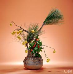 Long-leaf pine, Yuzu, Sarcandra glabra // Sogetsu Ikebana
