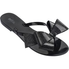 Melissa Harmonic Gift Bow Black Glitter (£48) ❤ liked on Polyvore featuring shoes, sandals, flip flops, glitter flip flops, black flip flops, black sandals, bow flip flops and black sparkly shoes