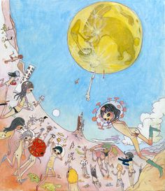Aya Takano reminds me of Chagall even though her work is more like a science fiction mash up with magna.if you can have serious whimsey, then she's nailed it. Pretty Art, Cute Art, Japanese Contemporary Art, Aya Takano, Arte Lowbrow, Funky Art, Japanese Artists, Aesthetic Art, Manga Art