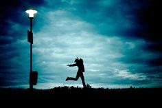 Girl, At Night, Running, Cloud