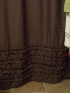 Shabby Chic - Cottage- Beach - Washed Cotton Ruffles in Chocolate Brown Shower Curtain. $74.00, via Etsy.