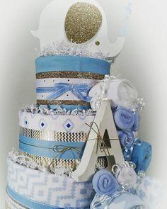 3 Tier Baby Boy Blue DIAPER CAKE w/ golden eye & ear elephant cake topper | initial name plate | handmade | boys | baby shower | centerpiece
