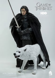 Jon Snow (Kit Harington) com Lobo Ghost em Game of Thrones – Action Figure 1:6 ThreeZero Toys