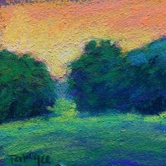 Orange+Glow+-+Framed+Minature+Pastel+Sunset+Sky+Orange+Green+Landscape,+painting+by+artist+Takeyce+Walter