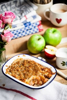 Recipe: Hemsley & Hemsley: Apple Crumble & Ginger Creme Fraiche - A homely apple crumble free from hydrogenated fats and refined sugars Best Gluten Free Recipes, Sugar Free Recipes, Clean Recipes, Wine Recipes, Sweet Recipes, Cooking Recipes, Easy Recipes, Vegetarian Recipes, Creme Fraiche