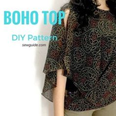 Make an Easy Batwing Sleeved Boho Top - Free sewing pattern - Sew Guide Blouse Pattern Free, Poncho Pattern Sewing, Sewing Patterns Free, Top Pattern, Free Sewing, Clothing Patterns, Free Pattern, Sewing Ideas, Sewing Projects
